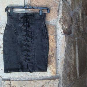 High waisted lace up black denim skirt